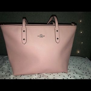 Pink coach tote purse